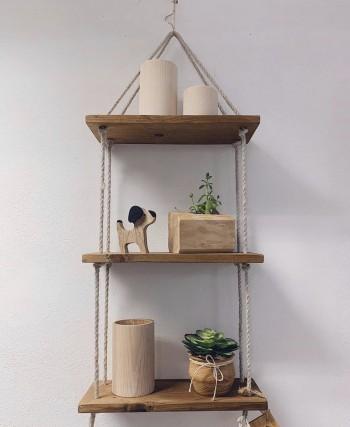Mensoline in legno con corda - PEZZO UNICO